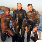 Вели, я и Дмитрий в завершающий день нашей охотничьей экспедиции. Нептун подарил мне встречу с двумя небольшими жёлтыми груперами. Турция-2013